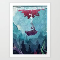 mermaid Art Prints featuring Mermaid by Serena Rocca