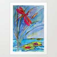 Stained Glass Dragonfly Art Print