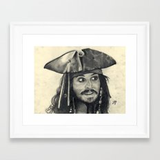 Captain Jack Sparrow ~ Johnny Depp Traditional Portrait Print Framed Art Print