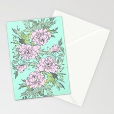 Mint Flowers Stationery Cards