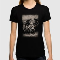 The Rise of Great Cthulhu Womens Fitted Tee Black SMALL