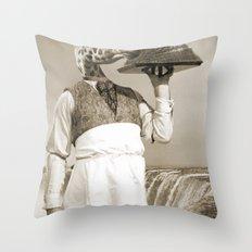 giraffe waiter  Throw Pillow