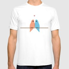 Love Birds White SMALL Mens Fitted Tee