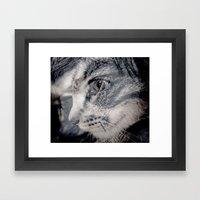 Cat vs human black / white Framed Art Print