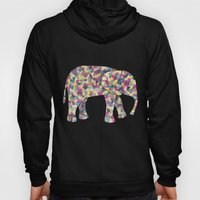 Elephant Collage in Gray Hot Pink Teal and Yellow Hoody