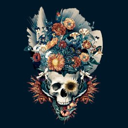 Art Print - Skull and Flowers - RIZA PEKER