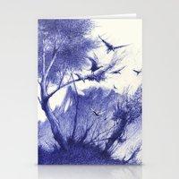 blaue Vögel Stationery Cards
