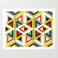 Stripy Triangle Pattern Art Print
