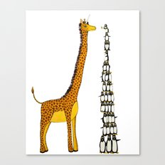 Who is taller Giraffe or Penguins? Canvas Print