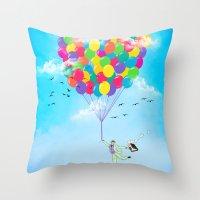 Neon Flight Throw Pillow