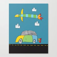 Car Plane Clouds Canvas Print