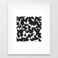 Black Bird Wings On Whit… Framed Art Print