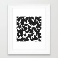 Black Bird Wings On Whit… Framed Art Print