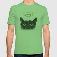 Black - Cat Mens Fitted Tee Grass SMALL