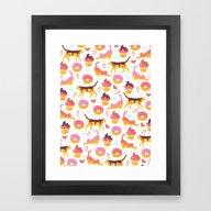 Cat Donut Framed Art Print