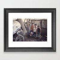 The pig keeper's kids Framed Art Print