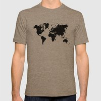 World Map Black Shape Co… Mens Fitted Tee Tri-Coffee SMALL