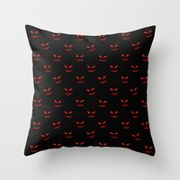 Scary Faces Creepy Nights Throw Pillow