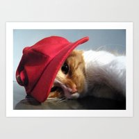 Cute Cat Wearing Red Cap Art Print