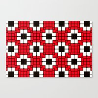 Retro Mosaic Red & Black Canvas Print