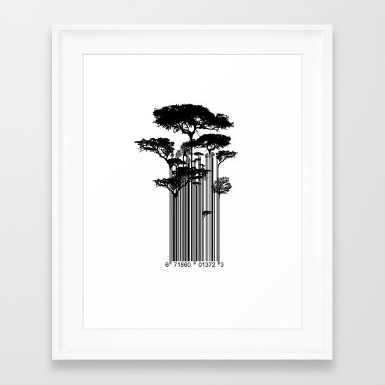 Barcode Trees illustration  Framed Art Print