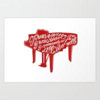 lyrics Art Prints featuring Piano lyrics by saralucasi