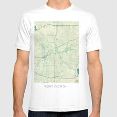 Fort Worth Map Blue Vintage Mens Fitted Tee SMALL White