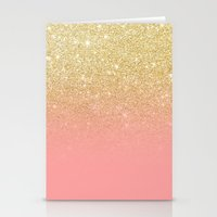 Modern gold ombre pink color block Stationery Cards