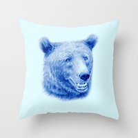 Brown bear is blue Throw Pillow