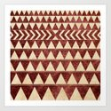Vintage Material Triangles Art Print