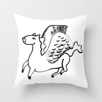 Mythical Thoroughbreds Throw Pillow