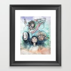 Spirited Away Watercolor Painting Framed Art Print