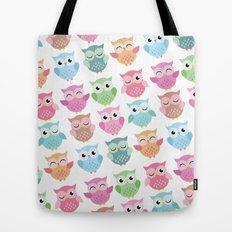 Pastel Owls Print Tote Bag