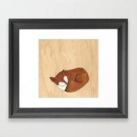 Slumbering Mr Fox Framed Art Print