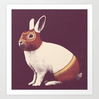 Lapin Catcheur (Rabbit Wrestler) Art Print