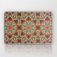 Blue & Brown Boho Floral Pattern Laptop & iPad Skin