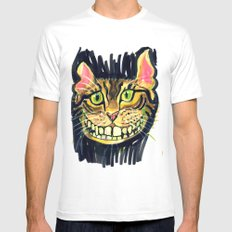 Cat White SMALL Mens Fitted Tee