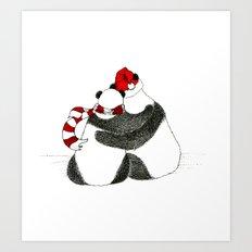 Christmas Pandas Art Print
