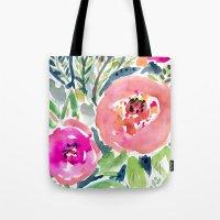 Peach Floral Tote Bag