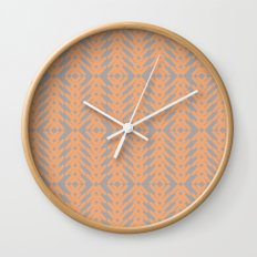 Peach and Gray Tribal Pattern Wall Clock