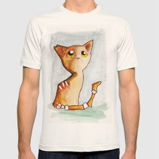 Orange Zombie Kitty Mens Fitted Tee Natural SMALL