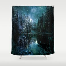 Winter Forest Teal Shower Curtain