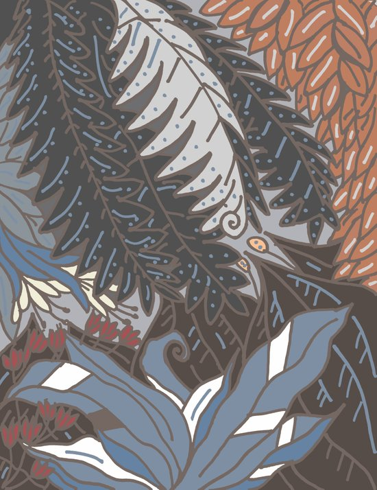 woodland with fronds Art Print