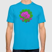 Funky Floral - JUSTART © Mens Fitted Tee Teal SMALL