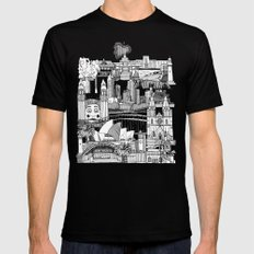 AUSTRALIA toile de jouy SMALL Mens Fitted Tee Black
