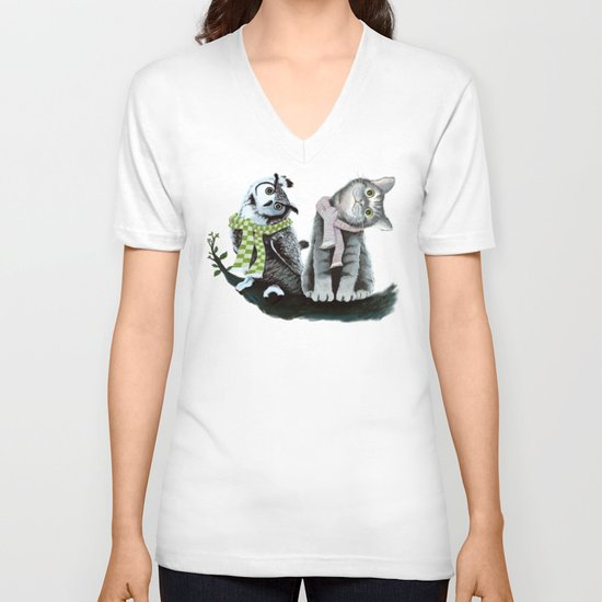Cat and Owl V-neck T-shirt