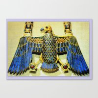 Gold Necklace with Vulture Pendant Canvas Print