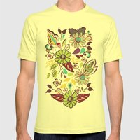 Large Bright Blooms Mens Fitted Tee Lemon SMALL