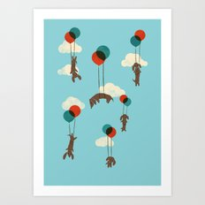 Flight of the Wiener Dogs Art Print