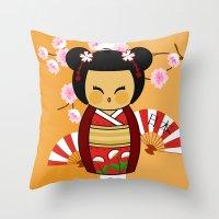 Kokeshi Ai  Throw Pillow